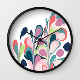 Colorful Abstract Floral Design Wall Clock