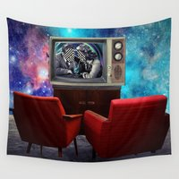 tv Wall Tapestries featuring Television by Cs025