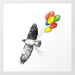 Hawk on his way to a party Art Print
