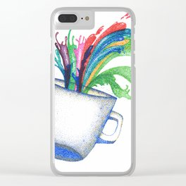 colorful coffee (pointillism work) Clear iPhone Case