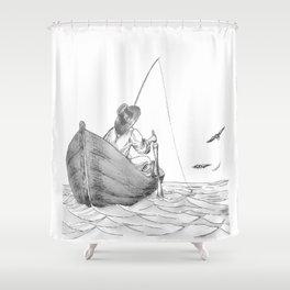 man fishing Shower Curtain