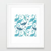 sharks Framed Art Prints featuring Sharks by Julia Badeeva
