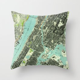 Vintage Central Park & Bronx NY Map (1947) Throw Pillow