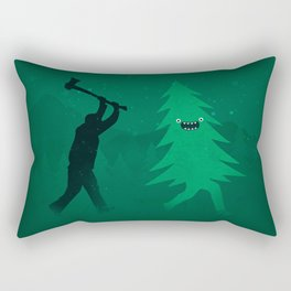 Funny Cartoon Christmas tree is chased by Lumberjack / Run Forrest, Run! Rectangular Pillow