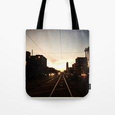 San Francisco Muni Njudah Sunset Silhouette  Tote Bag