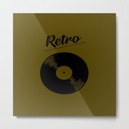 Retro record music logo Metal Print