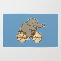 cycle Area & Throw Rugs featuring Elephant Cycle - colour option by Terry Fan