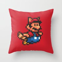 mario bros Throw Pillows featuring Pixelated Super Mario Bros - Mario by Katadd