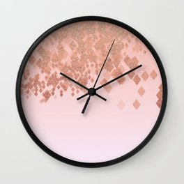 Light Salmon Pink Gradient Faux Glitter Diamonds Wall Clock