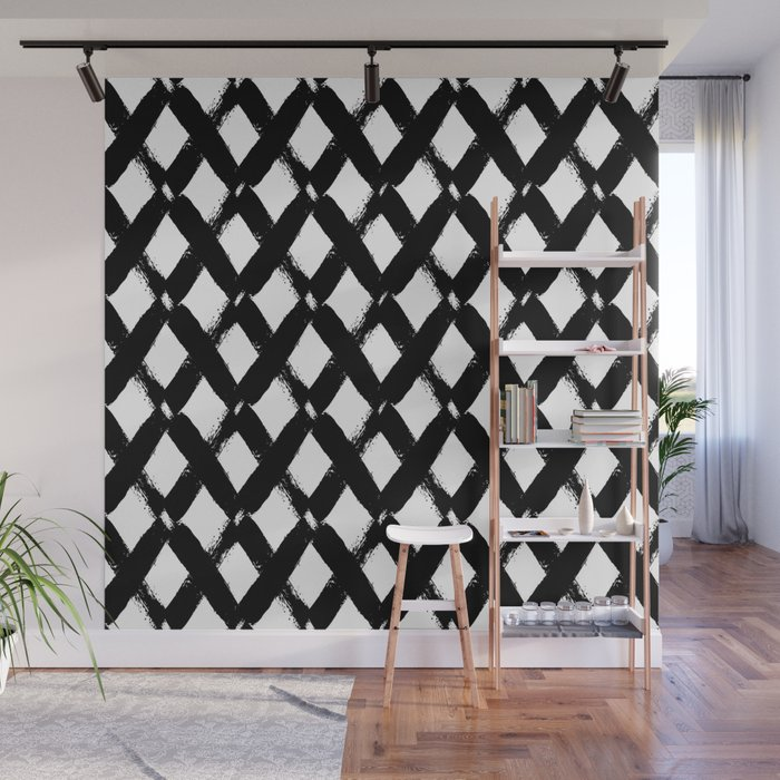 Black and White Criss Cross Pattern Modern Contemporary Wall Mural
