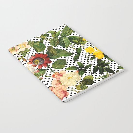 Points and Flowers Pattern Notebook