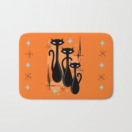 Effervescent Orange Atomic Age Black Kitschy Cat Trio Bath Mat