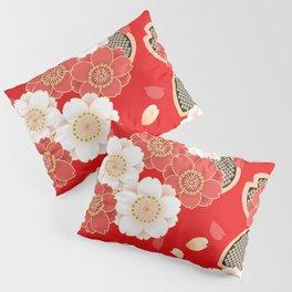 Japanese Vintage Red Black White Floral Kimono Pattern Pillow Sham