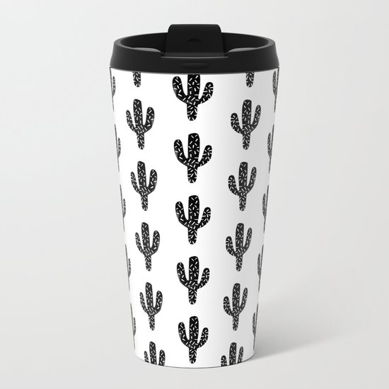 Linocut Cactus black and white minimal modern printmaking trendy hipster canvas dorm college art Metal Travel Mug