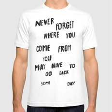 NEVERFORGET White Mens Fitted Tee MEDIUM
