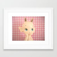 devil Framed Art Prints featuring  Devil  by Vintage  Cuteness