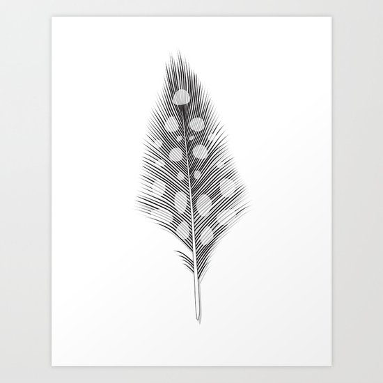 Polka Dotted Feather Art Print