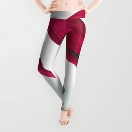Flamingo Vintage Scientific Bird Illustration Leggings