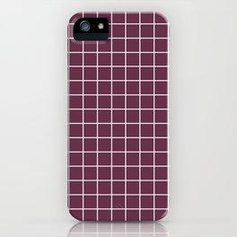 Wine dregs - violet color - White Lines Grid Pattern iPhone Case