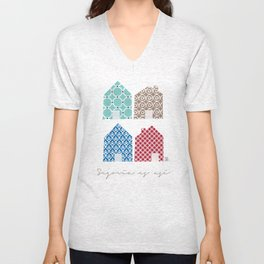 4 casitas esgrafiadas con colores. Houses. House. Unisex V-Neck
