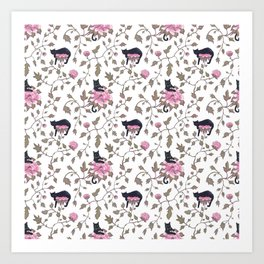 Black cats and paeony flowers Art Print