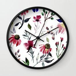 Coneflower Floral|Bold Watercolor Flowers|Renee Davis Wall Clock
