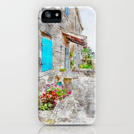 Aquarelle sketch art. Town cobbled street view, region of Istria, Croatia iPhone Case