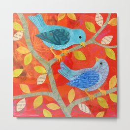 Two Birds on Red Metal Print