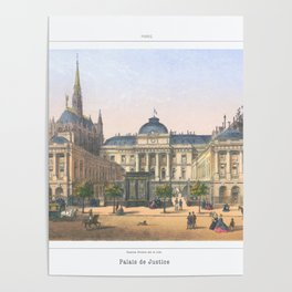 Paris art print Paris Decor office decoration vintage decor PALAIS DE JUSTICE of Paris Poster
