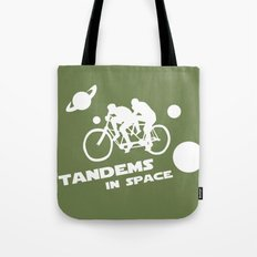 Tandems in Space in Green Tote Bag