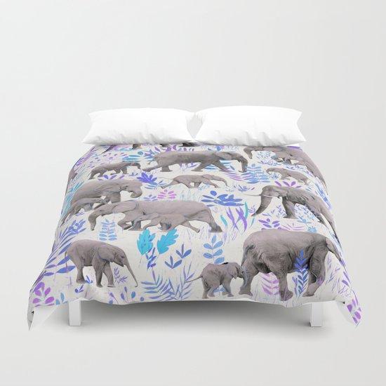 Sweet Elephants in Aqua, Purple, Cream and Grey Duvet Cover