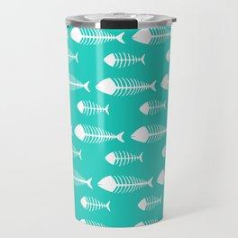 Tiffany Blue Fish Skeleton Pattern Design Big Travel Mug