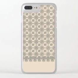 Warm Sepia Crochet Square Lace Pattern Clear iPhone Case
