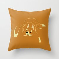 shiba inu Throw Pillows featuring Shiba Inu by Reimena Ashel Yee