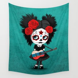 Day of the Dead Girl Playing Russian Flag Guitar Wall Tapestry