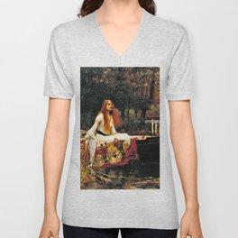 John William Waterhouse - The Lady Of Shalott - Digital Remastered Edition Unisex V-Neck