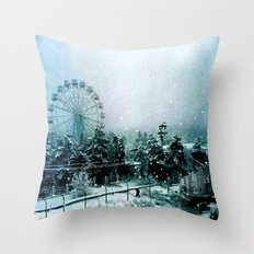 Cold Forest Playground Throw Pillow
