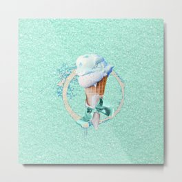 Blue Sugar Icecream Cone Metal Print