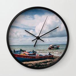 Boats by the Sea Wall Clock