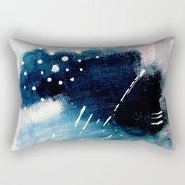 Meteor Shower - an abstract acrylic piece in blue and white Rectangular Pillow
