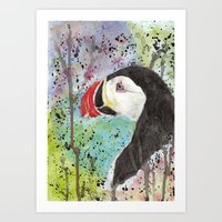 puffin Art Prints featuring Puffin by Catherine Johnson