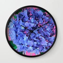 BLUE ABSTRACTED HYDRANGEA YELLOW-PINK Wall Clock
