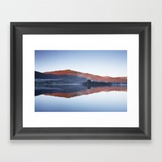 Mist and calm mountain reflections at sunrise. Grasmere, Lake District, UK Framed Art Print