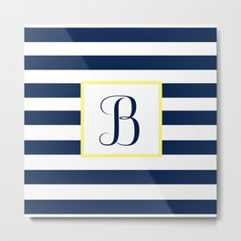 Monogram Letter B in Navy Blue it Yellow Outlined Box Metal Print