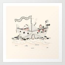 Paper ship Art Print