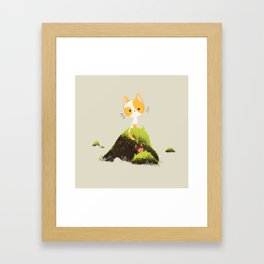 Little cat and crab Framed Art Print