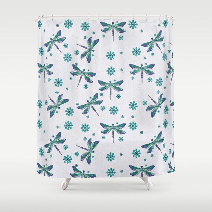 Dragonfly Mystic Jeweled Folk Art Shower Curtain