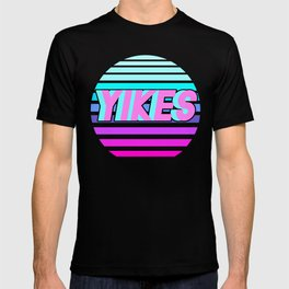 "Vaporwave pattern with palms and words ""yikes"" #2 T-shirt"