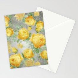 Big Botanical Roses Vintage Sunshine Yellow On Gray Stripes                    Gray Stripes Stationery Cards