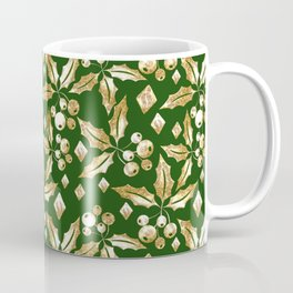 Christmas pattern.Gold sprigs on a dark green background. Coffee Mug